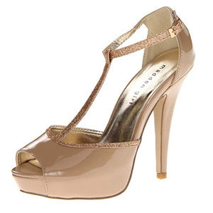 MADDEN GIRL Nude Sparkly T-Strap Heels (Size 6)